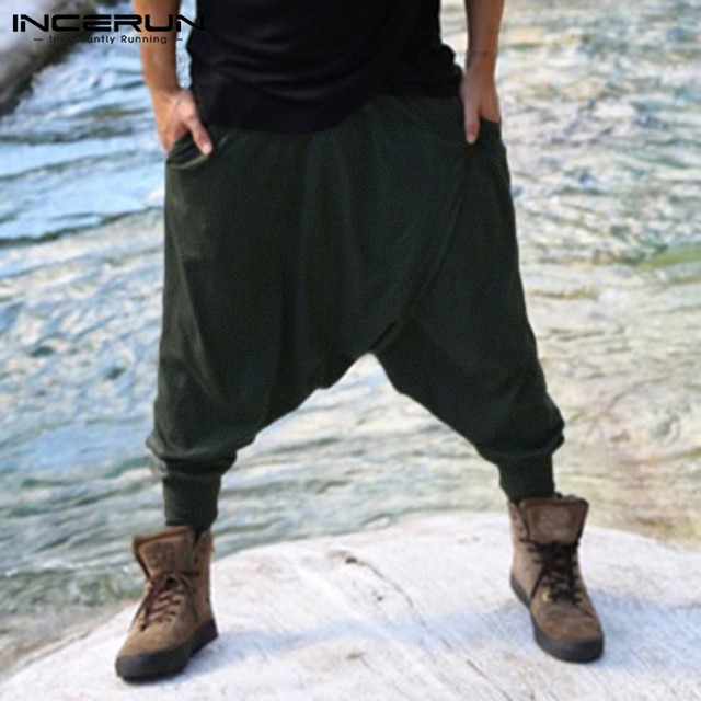 e4140d06613 INCERUN Harem Pants Hiphop Baggy Ninja Pants Mens Cross Pant Loose Fitness Low  Drop Crotch Trousers Dance Pantalon Man Clothing-in Harem Pants from Men s  ...