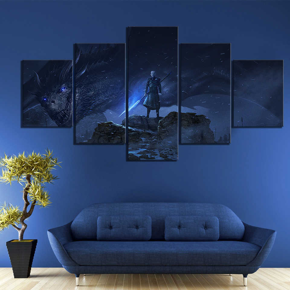 5 Piece Dragon Night King Game of Thrones Season 8 Movie Poster Paintings A Song of Ice and Fire Poster Paintings for Wall Decor