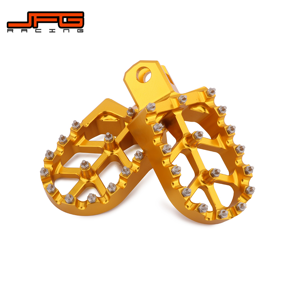 JFG RACING Foot Pegs Footpegs Footrest Foot Pedals Rests CNC MX For SUZUKI RM125 RM250 RM250Z RMX250 DR-Z400 DR-Z400E DR-Z400S DR-Z400SM KAWASAKI KLX400R Motorcycle Gold
