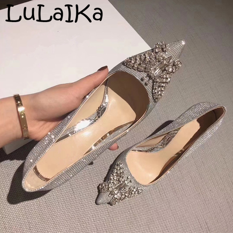 2019 Spring Elegant Woman Pumps Shoes Sexy Sequin Pointed Toe Lady Party Wedding High Heels Diamond Butterfly Decoration Shining
