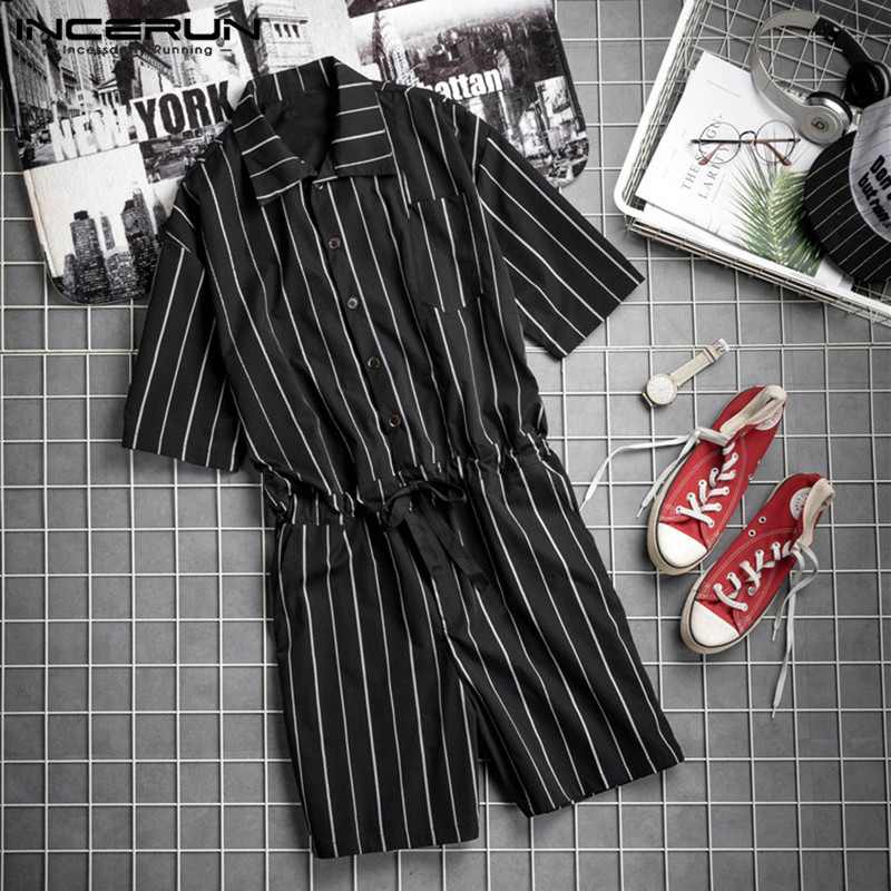Fashion Striped Jumpsuits Baggy Summer Casual Pants Cool Male Playsuit Overalls Jumpsuit Men Sweatpants Coverall Men Overalls
