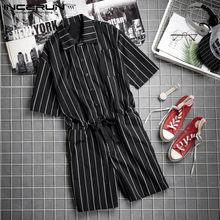 Combinaison rayée pour homme, pantalon de survêtement, Cool, à la mode, été pantalons décontractés