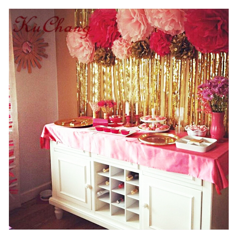 Image 2 - Party Backdrop Wedding Backdrop 2M 3M Gold Tinsel Curtain Wedding Decoration Photo Curtains Birthday Decoration Party Curtains-in Party Backdrops from Home & Garden