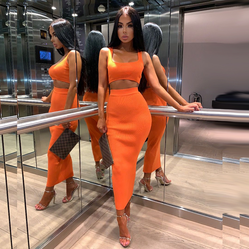 Colysmo Frauen Sexy Zwei Stück Sets 2019 Sommer 2 Stück Set Frauen Crop Top Und Rock Set Party Club Outfits Orange Sets Kleidung Heller Glanz Damen-sets