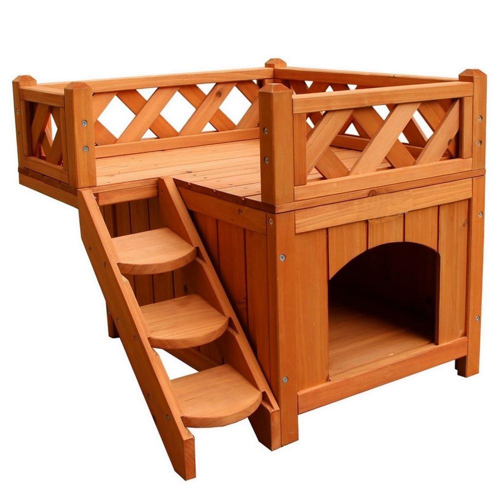 Maison de chat en bois chenil sapin bois animaux de compagnie lits confiance animal de compagnie salon avec balcon 2 couches chat escalade échelle clôture