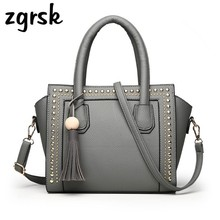 купить Tassel Rivet Women Luxury Handbags Female Crossbody Bags Designer High Quality PU Leather Shoulder Bag Women Messenger Bags по цене 1381.43 рублей