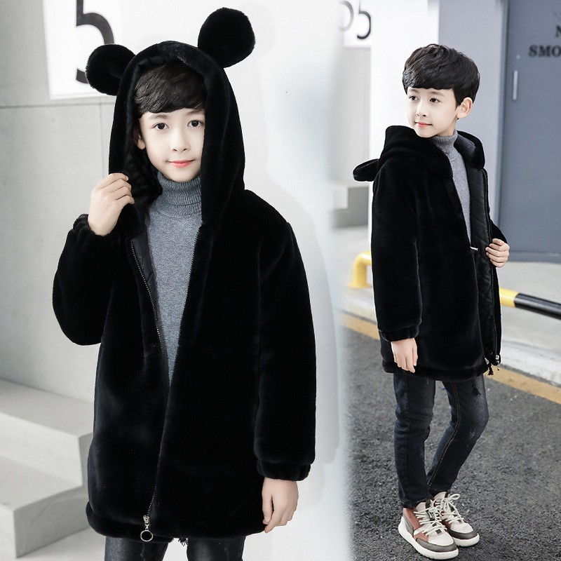 75f7268ddb4f Black Character Hooded Children Faux Fur Trench Coat Baby Big Boys ...