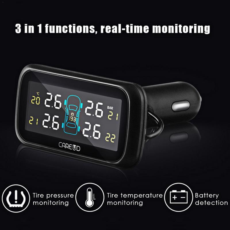 Système de surveillance de la pression des pneus sans fil électronique de voiture avec capteurs de batterie remplaçables externes écran LCD U903