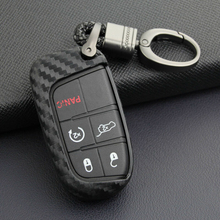 1 Pc Carbon Fiber Black Key Fob Chain For Jeep Grand Cherokee (WK2) 2014 - 2019