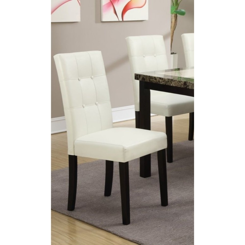Modern Design Poplar Wood Dining Chair, Set Of 2, White And Brown
