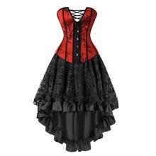 Women Gothic Burlesque Red Overbust Corset Bustier With Black Floral Ruffles Skirt Set Halloween Vintage Dress Costume