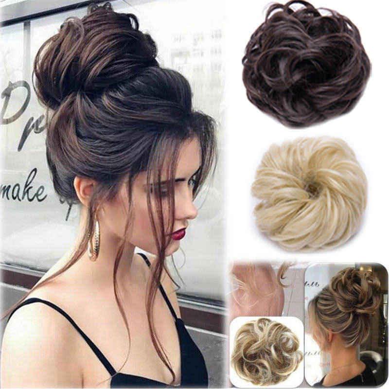 Кудрявый грязный пучок волос кусок Scrunchie Updo покрытие наращивание волос реальные как человеческие волосы