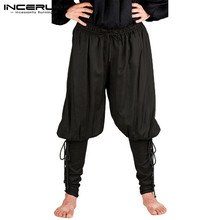 INCERUN Medieval Vikings Pirate Warrior Pants Men Clothing Knight Solid Color Lace Up Trousers Renaissance Cosplay Costumes