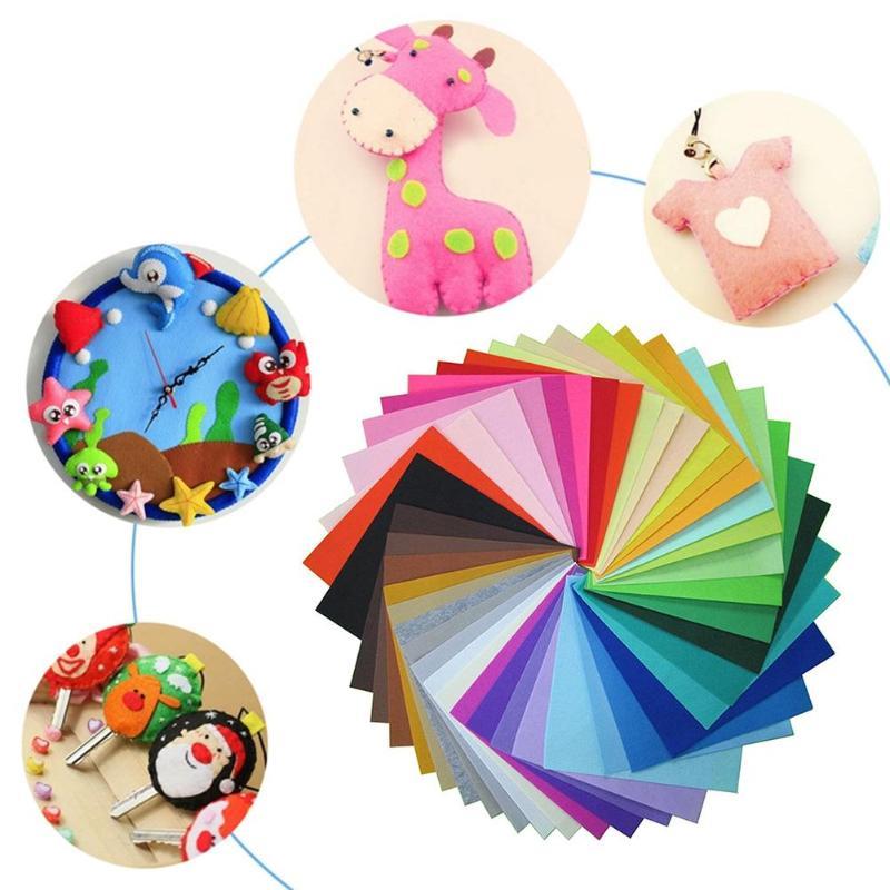 40pcs 10X10cm DIY Non-Woven Polyester Cloth Kids DIY Crafts Toys Kindergarten DIY Education Learning Toys