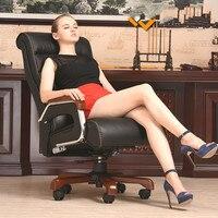Высококачественный Эргономичный Кожа деревянные роскошный офисный стул смарт электрический массажный стул родители/Бизнес подарок bureaustoel