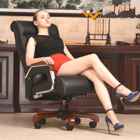 High Quality Ergonomic Leather Wooden Executive Office Chair Smart Electric Massage Chair Parents/Business Gift bureaustoel