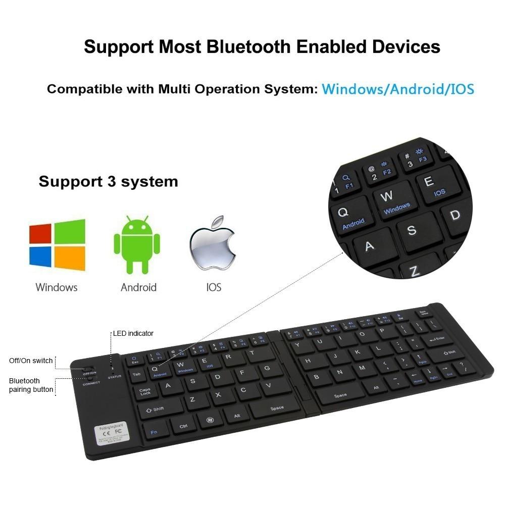 ipad iphone CHYI Portable Folding Bluetooth Keyboard Aluminum Foldable Wireless Travel Mini BT 3.0 Keypad for iphone ipad PC tablet phone (4)