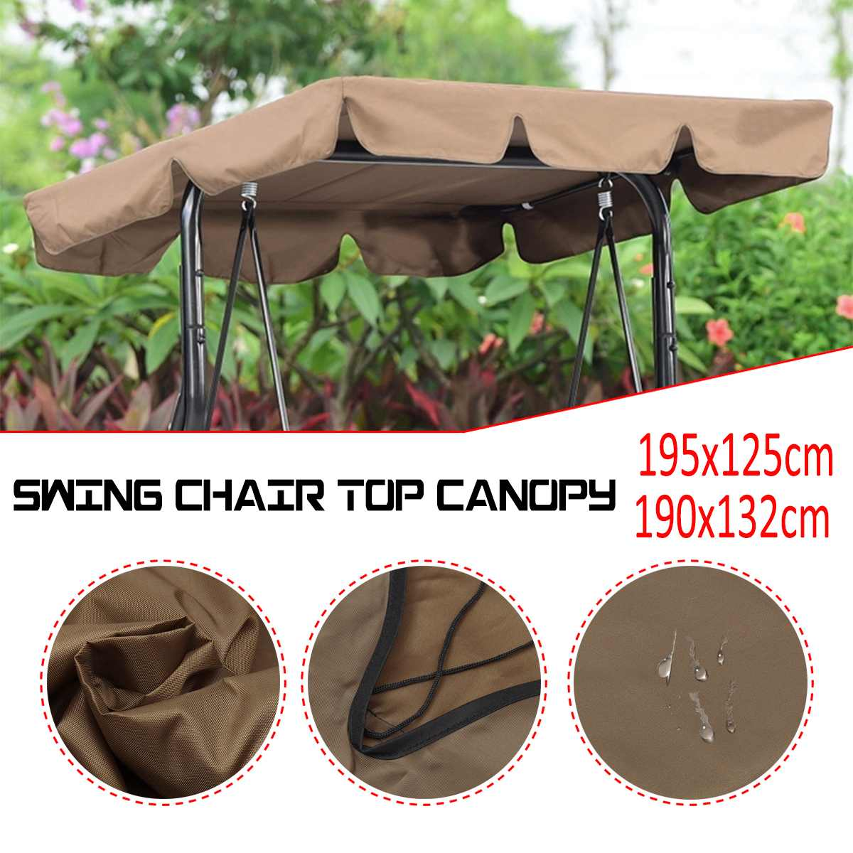 195x125cm Waterproof Swing Chair Top Cover Awning Outdoor