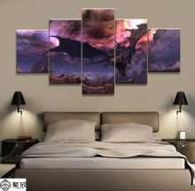 Home Decor Modular Canvas Picture 5 Piece Elder Scrolls V Skyrim Game Painting Poster Wall For Wholesale