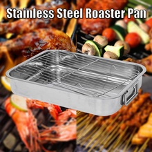 42*32*7cm Stainless BBQ Grill Pan Chicken Roaster Cooking Tray Pan Pizza Fries Tater Tots Nonstick Cooking Bakeware with Rack