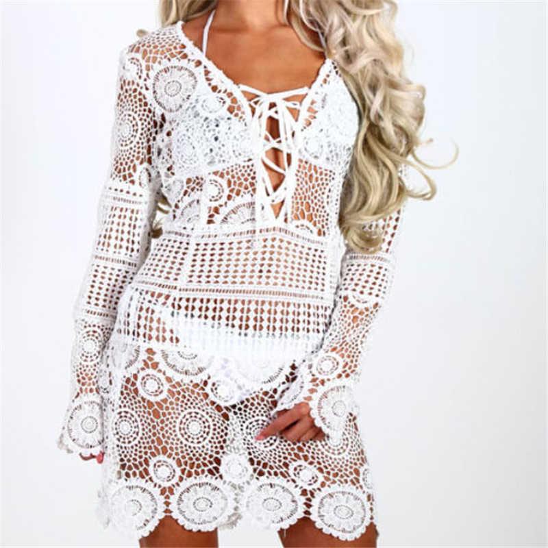 Summer Beach Dress New Women Dress Lace Crochet Beach Cover Up Hollow Out Beachwear  Swimwear Bikini 1e5ae7de4171