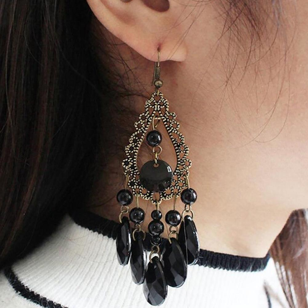 Agressief Hot Vrouwen Oorbellen Boho Party Sieraden Hollow Water Drop Kralen Lange Dangle Hook Decor Glanzend Oppervlak