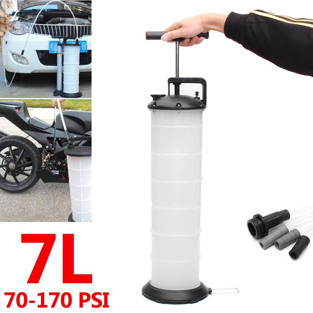 7L Manuel Vide Huile Extractor Fluid pompe à huile Liquide Changeur Récipient Voiture Bateau Carburant Essence Réservoir De Transfert Main Remover Outils