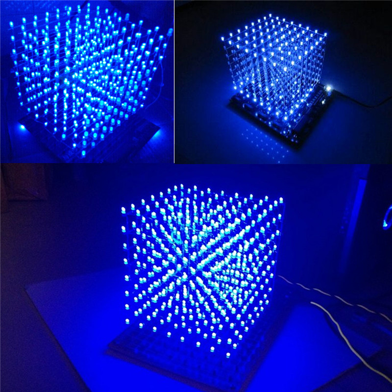 Honesty Claite Blue Led Light Cube Kit 8x8x8 3d Led Diy Kit Electronic Suite For Advertising 512led Diy Electronic Display Kits Commercial Lighting