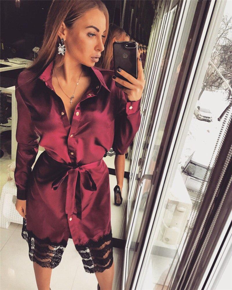 ae2d10abfd 2019 Sexy Bodycon Bandage Dress Women Long Sleeve Midii Dress Casual Lace  Party Shirt Dress Vestidos