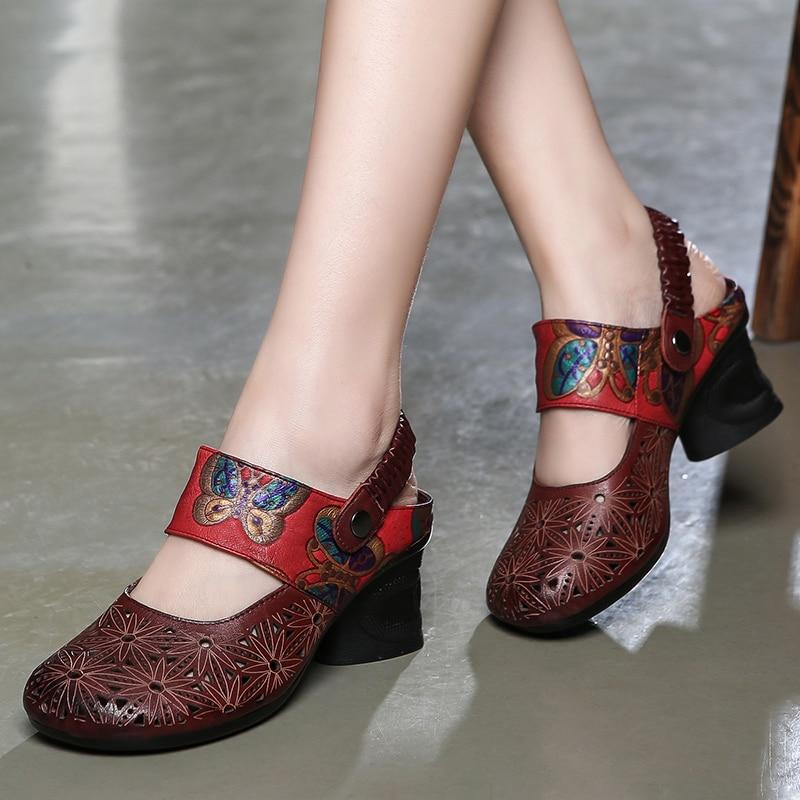 Chaussures Rouge Cuir D'été Es De Cm Noir Vin Hauts Rétro San ymNwn80vO