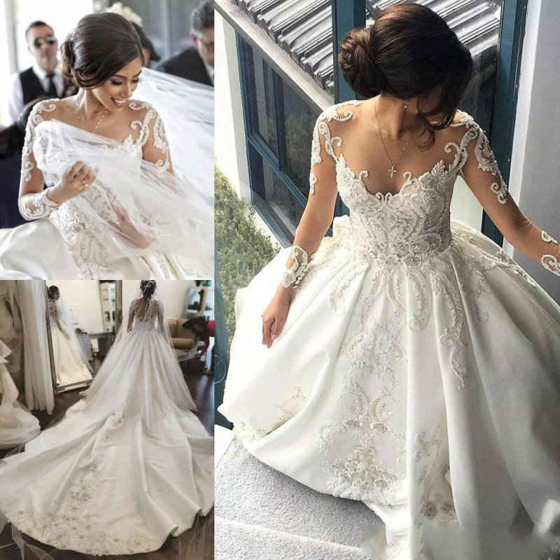 Satin A Line Wedding Dresses Sheer Long Sleeves Lace