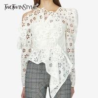 TWOTWINSTYLE пикантные с открытыми плечами Асимметричный Женская рубашка блузка длинным рукавом выдалбливают Белый кружево Топы корректирующи