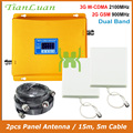 TianLuan Dual Band W-CDMA 2100 mhz GSM 900 mhz Mobiele Telefoon Signaal Booster 2g 3g Signaal Repeater met panel Antenne/15 m 5 m Kabel