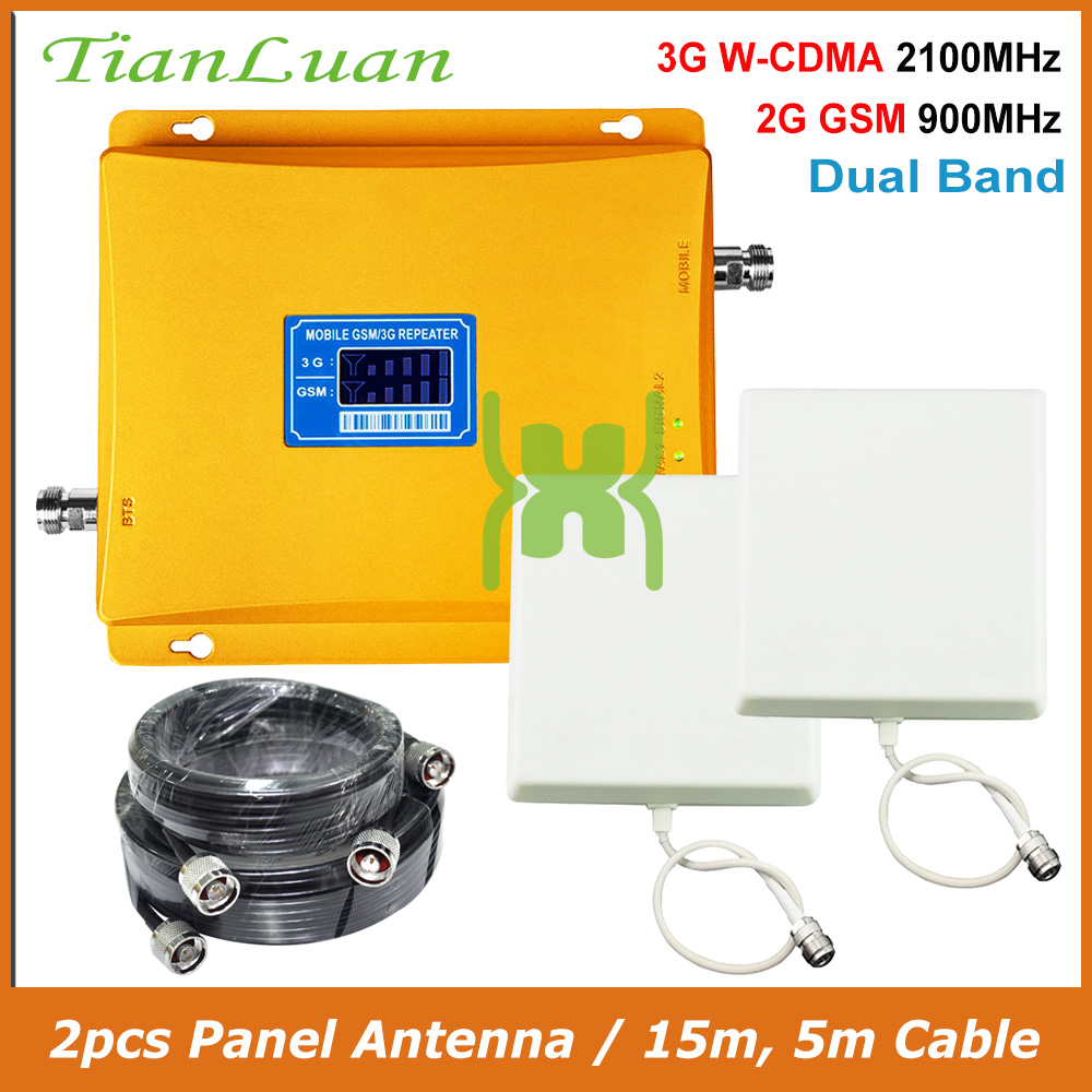 TianLuan Dual Band W-CDMA 2100MHz GSM 900MHz Mobile Phone Signal Booster 2G 3G Signal Repeater with Panel Antenna / 15m 5m Cable