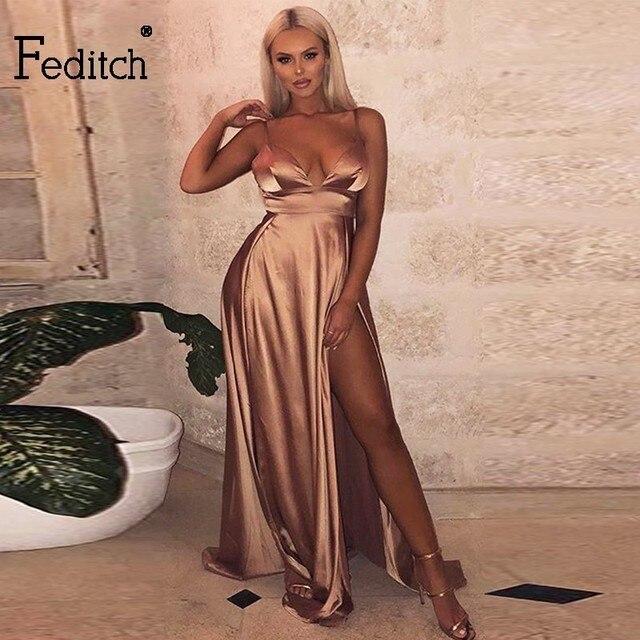 Feditch Elegant Long Maxi Dresses Women High Split Vintage Dress V Neck  Satin Floor Length Clubwear a673d6e846c6
