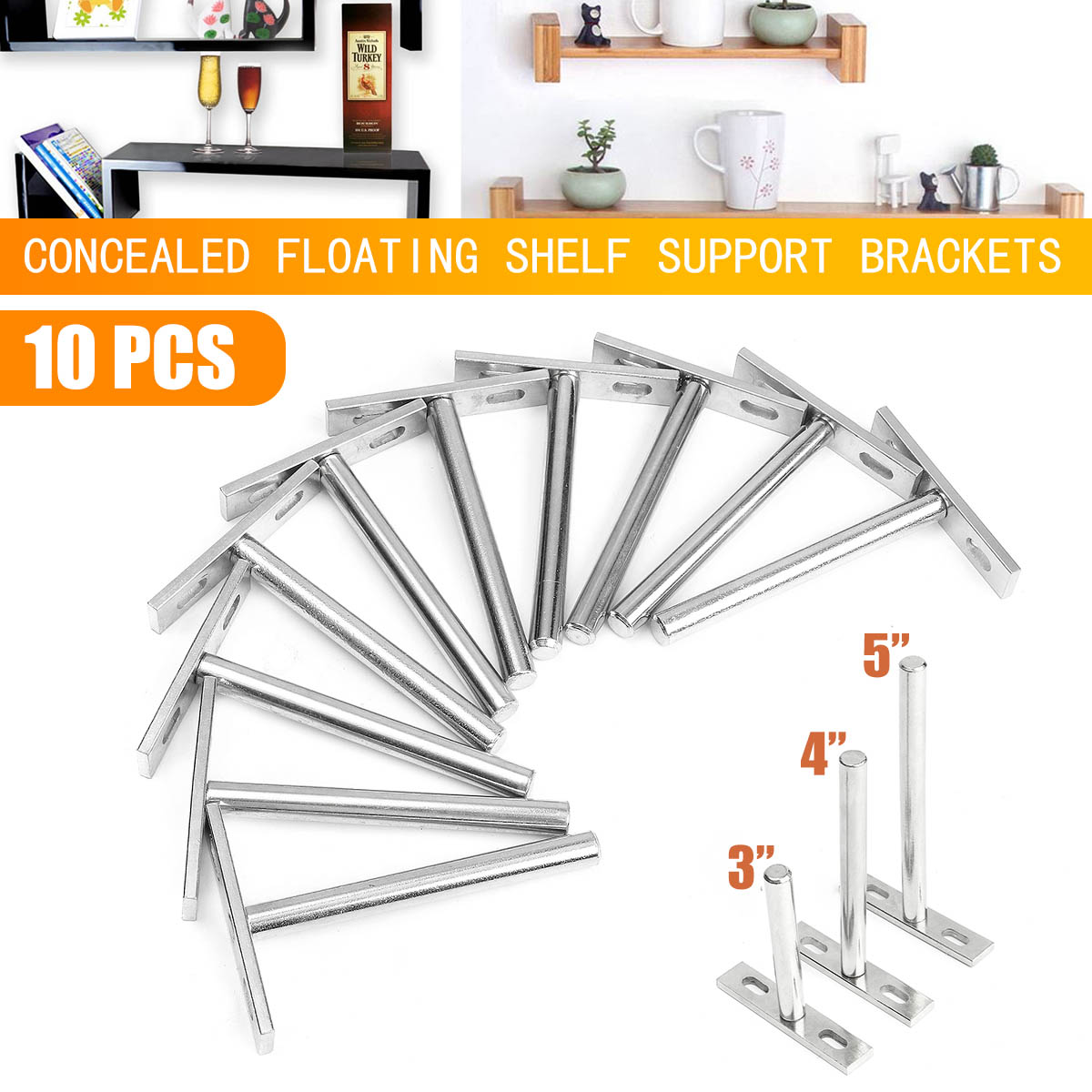 10 X Heavy   Tool 3/4/5 Inch Concealed Floating Wall Shelf Support Metal Brackets Cold Rolled Steel For 20-30mm Thickness