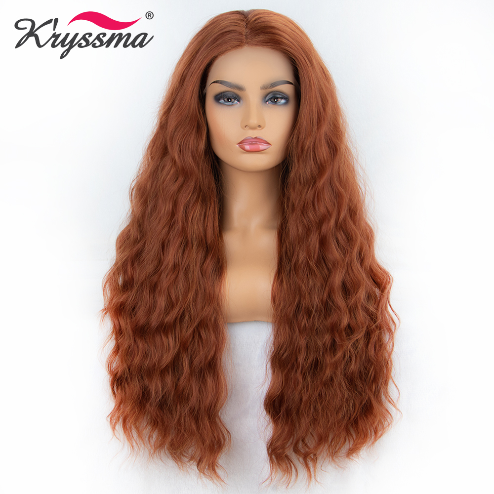 Kryssma Synthetic Lace Front Wig Copper Red Middle Part Orange Long Loose Wavy Wigs For Women