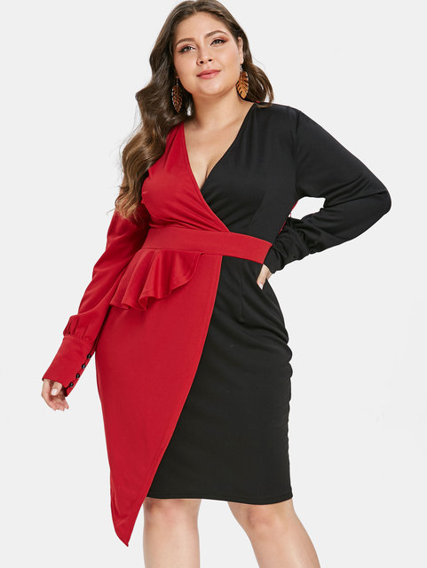 9810553151 Wipalo Plus Size Two Tone Surplice Asymmetric Bodycon Dress Sexy Plunging  Neck Half Sleeve Dresses Summer