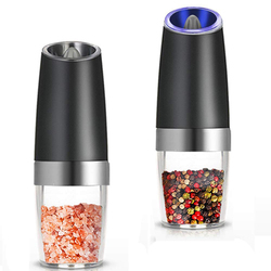 Premium Gravity Electric Salt and Pepper Grinder Set of 2 Battery Powered Salt Shakers, Automatic One Hand Pepper Mills with L