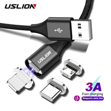 USLION Magnetic Cable 3A Fast Charging USB Type C Cable & Micro USB Cable Magnet Charger D