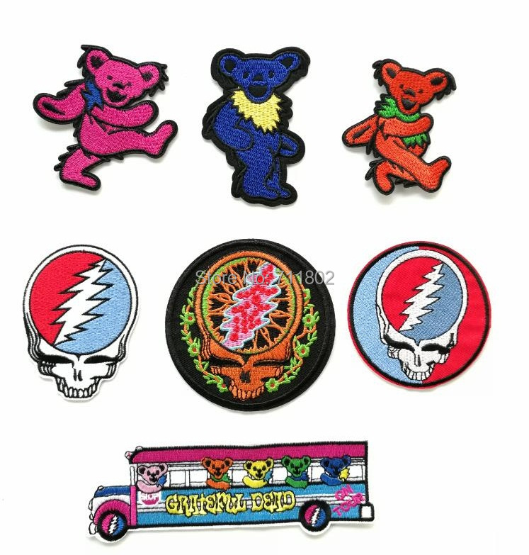 Grateful dead iron on Patches band music badge Clothing accessories embroidered Wholesale