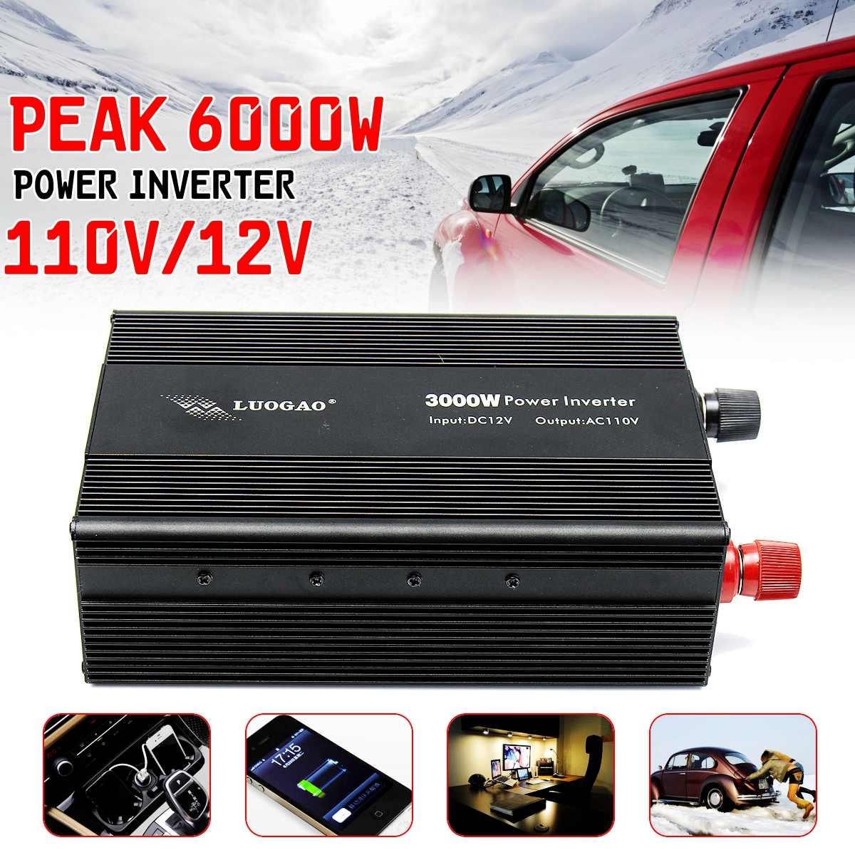 Modified Sine Wave Power Inverter 3000W 6000W Peaks DC12V to AC110V/220V Car HomeModified Sine Wave Power Inverter 3000W 6000W Peaks DC12V to AC110V/220V Car Home