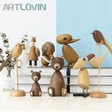 Деревянные фигурки животных в скандинавском стиле, фигурки медведя/собаки/птицы/обезьяны, домашний декор, украшения, игрушки для мальчиков и хобби