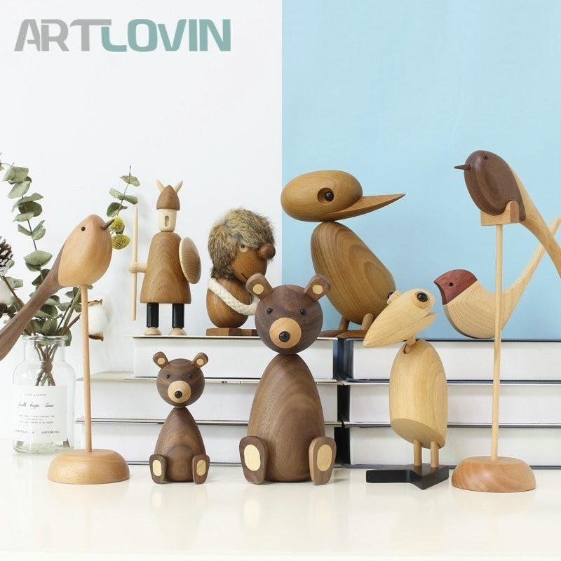 Nordic Style Danmark Wooden Animal Figurines Wood Bear/Dog/Bird/Monkey Figures Home Decor Ornaments Crafts Boy Toys & Hobbies|Figurines & Miniatures| |  - title=