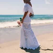 Try Everything white summer beach dress women 2019 long maxi off shoulder lace floor length elegant ladies dresses