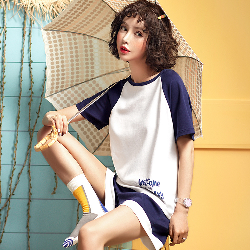 2019 Summer Pajamas For Women Floral Print Nightwear Pajama Set Pyjamas Sleepwear O Neck Short Sleeve Cotton Pijama Mujer in Pajama Sets from Underwear Sleepwears