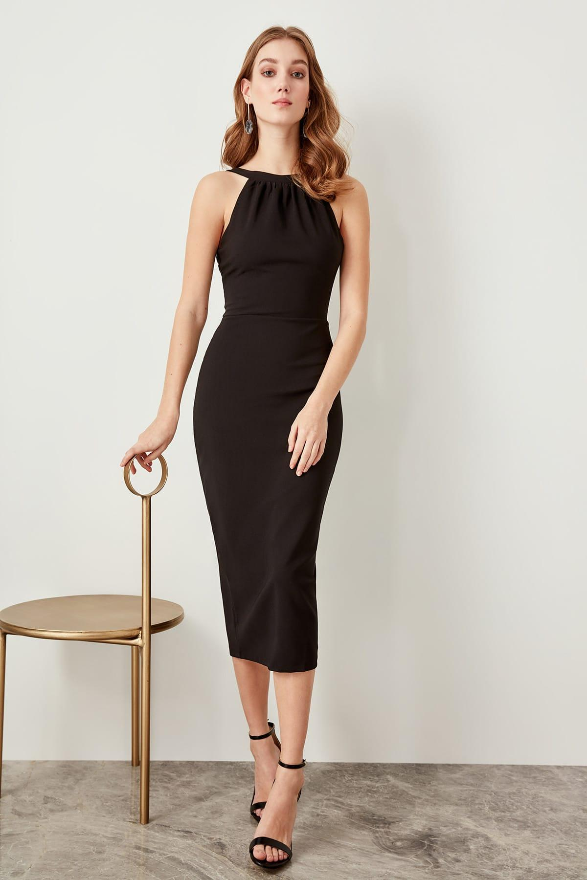 Trendyol Black Collar Detail Dress TPRSS19FZ0140()
