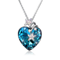 100% Pure 925 Sterling Silver big blue crystal stone LOVE heart with starfish sweater chain for women necklace fine jewelry