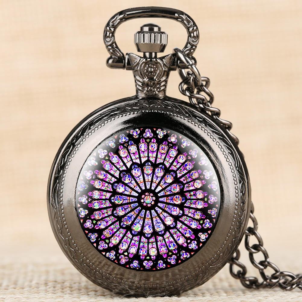 The Rose Window Stained Glass Pocket Watches Gorgeous Notre Dame De Paris Cathedral Necklace Pendant Clock Souvenir Gifts