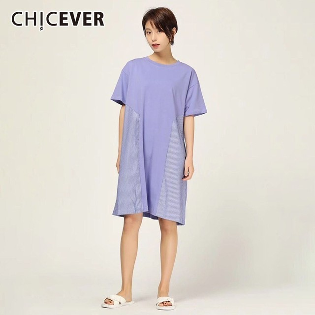 8860f9af0b CHICEVER Spring Casual Patchwork Striped Women Dress O Neck Short Sleeve  Loose Slim A-line Knee-length Dresses 2019 New Tide